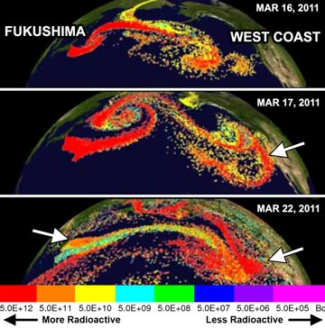 Snapshot of Fukushima airborne nuclear fallout plume, circles the earth every 40-60 hrs, forever.